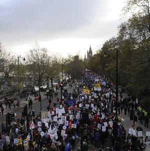 Public sector workers march in London in protest at pension cuts