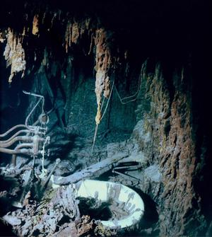 Pipes and the captain's bathtub are shown in this July 2003 photo, of what remains of the captain's cabin on the Titanic more than two miles underwater in the north Atlantic. Recent research dives to the legendary shipwreck are showing the vessel is deteriorating faster than earlier thought.