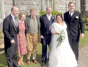 "Alan and Nicola Forbes celebrated their wedding with from left, Viscount John Crichton, Natalie Burt, Timothy Spall and David Walliams at Crom Castle. <p><b>To send us your Wedding Pics <a  href=""http://www.belfasttelegraph.co.uk/usersubmission/the-belfast-telegraph-wants-to-hear-from-you-13927437.html"" title=""Click here to send your pics to Belfast Telegraph"">Click here</a> </a></p></b>"