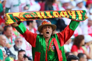 L'VIV, UKRAINE - JUNE 13:  A Portugese fans shows his support during the UEFA EURO 2012 group B match between Denmark and Portugal at Arena Lviv on June 13, 2012 in L'viv, Ukraine.  (Photo by Martin Rose/Getty Images)