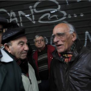 Greek civil engineers protest outside the Labour Ministry building in central Athens (AP)