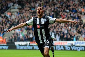 NEWCASTLE UPON TYNE, ENGLAND - APRIL 09:  Hatem Ben Arfa of Newcastle celebrates scoring to make it 1-0 during the Barclays Premier League match between Newcastle United and Bolton Wanderers at the Sports Direct Arena on April 9, 2012 in Newcastle upon Tyne, England.  (Photo by Michael Regan/Getty Images)
