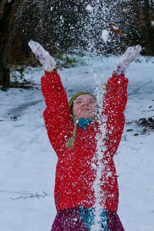 Darragh Crowley (12) from the Waterside in Derry plays in the snow in St.Columb's Park