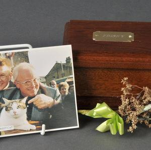 A box containing the ashes of Frisky the cat, who appeared in the opening titles of Coronation Street for 10 years