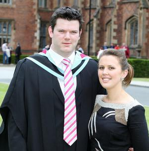 Graduations at Queen's University in Belfast.  Left to right.  Neil Moneypenny from Monaghan who graduated with a Masters in Electrical and Electronic Engineering pictured with Rebecca McNally.