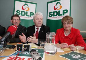 Fearghal facing the media with SDLP leader Margaret Ritchie