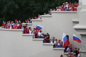 WARSAW, POLAND - JUNE 12:  Russian supporters head to the stadium ahead of the UEFA EURO 2012 group A match between Poland and Russia at The National Stadium on June 12, 2012 in Warsaw, Poland.  (Photo by Michael Steele/Getty Images)