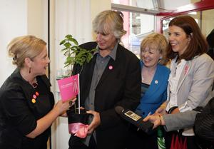 Phil Redmond, chairman, UK City of Culture 2013 judging panel receiving an oak tree from members of the successful Derry - Londonderry bid team. Included, from left are Noelle Robinson, Aideen McGinley and Oonagh McGillion