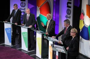 From left: Tom Elliott, Martin McGuinness, David Ford, Peter Robinson and Margaret Ritchie during last night's election debate on UTV
