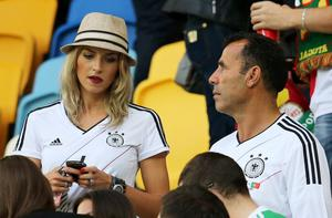 L'VIV, UKRAINE - JUNE 09:  Lena Gercke, girlfriend of Sami Khedira of Germany looks on during the UEFA EURO 2012 group B match between Germany and Portugal at Arena Lviv on June 9, 2012 in L'viv, Ukraine.  (Photo by Joern Pollex/Getty Images)
