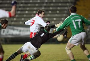 Fermanagh v Tyrone at Brewster Park. Tyrone's Mark Donnelly has his shot saved by Fermanagh's James McGrath.