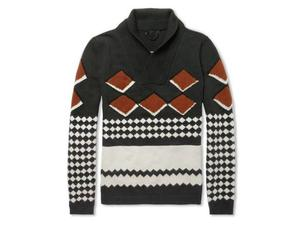 <b>1. Burberry Prorsum, £995, mrporter.com</b>  This shawl collar knit from Burberry Prorsum exudes 1970s manly style. And the brown hexagonal print only adds to its cool retro credentials. It's a fine knit rather than chunky and the cut is on the slim side, keeping the overall feel very modern.