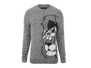 <b>2. River Island, £38, river-island.com</b>  Having an animal motif on your knitwear doesn't have to be restricted to the over-exposed reindeer. This fantastic grey, tonal knit from River Island has a lion's face down one side, if only to confirm your own suspicions that you are king of the urban jungle. Wear with sharp tailored trousers.