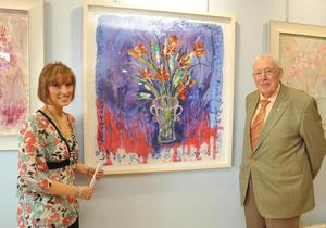STANDALONEHandout photo of First Minister for Northern Ireland Ian Paisley with his daughter Rhonda at the opening of her new art exhibition at the Emer Gallery, Antrim Road, Belfast.: Sunday May 4 2008.