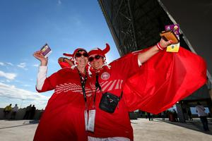 L'VIV, UKRAINE - JUNE 13:  Danish fans enjoy the pre-match atmopshere during the UEFA EURO 2012 group B match between Denmark and Portugal at Arena Lviv on June 13, 2012 in L'viv, Ukraine.  (Photo by Alex Livesey/Getty Images)