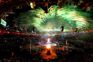 LONDON, ENGLAND - AUGUST 29:  Fireworks light up the stadium as the Paralympic Cauldron burns during the Opening Ceremony of the London 2012 Paralympics at the Olympic Stadium on August 29, 2012 in London, England.  (Photo by Mike Ehrmann/Getty Images)