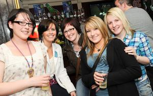 WKD competition at the Globe Bar, Belfast, to win a trip to Bennacassim festival in Spain, pictured Kirsty Thompson, Debra Reynolds, Philippa Reynolds, Lisa Allen and Laura McCandless