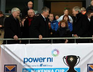 Special guest: First Minister Peter Robinson attended the Dr McKenna Cup Final between Derry and Tyrone in Armagh