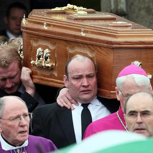 The coffin of Brendan McAleese, 39, from Co Tyrone, one of six to die in an accident at Cork airport last Thursday