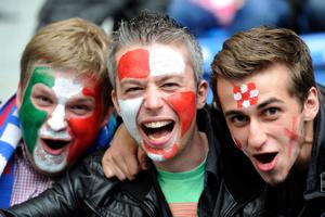 POZNAN, POLAND - JUNE 14: Football fans enjoy the pre-match atmopshere during the UEFA EURO 2012 group C match between Italy and Croatia at The Municipal Stadium on June 14, 2012 in Poznan, Poland.  (Photo by Claudio Villa/Getty Images)