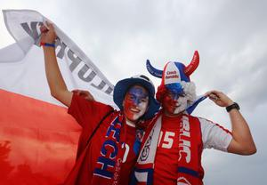 WROCLAW, POLAND - JUNE 08:  Czech fans soak up the atmosphere during the UEFA EURO 2012 group A match between Russia and Czech Republic at The Municipal Stadium on June 8, 2012 in Wroclaw, Poland.  (Photo by Christof Koepsel/Getty Images)