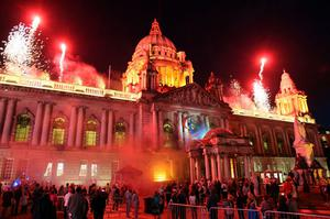 Fireworks at Belfast City Hall after the lighting of the cauldron with the Paralympic flame