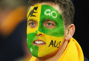 AUCKLAND, NEW ZEALAND - SEPTEMBER 17: A Wallabies fan looks on ahead of the IRB 2011 Rugby World Cup Pool C match between Australia and Ireland at Eden Park on September 17, 2011 in Auckland, New Zealand.  (Photo by Cameron Spencer/Getty Images)