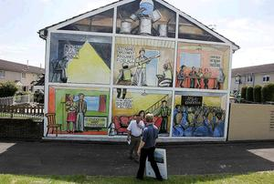 Designers used traditional mural skills and digital production skills for new murals in Belfast. 2009.