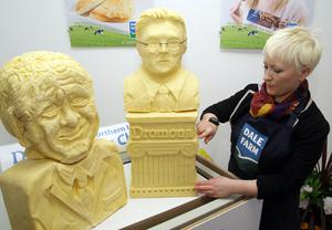 Belfast sculptor, Rachel Dickson working on the Dromona cheesy replicas of First and deputy First Ministers, Peter Robinson MP MLA and Martin McGuinness MP