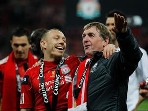 LONDON, ENGLAND - FEBRUARY 26:  Kenny Dalglish manager of Liverpool and Craig Bellamy celebrate after victory in the Carling Cup Final match between Liverpool and Cardiff City at Wembley Stadium on February 26, 2012 in London, England. Liverpool won 3-2 on penalties.  (Photo by Paul Gilham/Getty Images)
