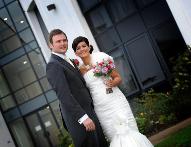 """David and Kathy Martin on their wedding day.  <p><b>To send us your Wedding Pics <a  href=""""http://www.belfasttelegraph.co.uk/usersubmission/the-belfast-telegraph-wants-to-hear-from-you-13927437.html"""" title=""""Click here to send your pics to Belfast Telegraph"""">Click here</a> </a></p></b>"""