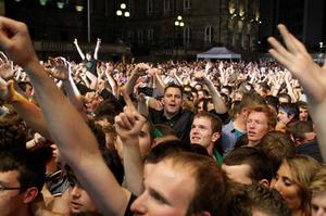 Kasabian performing at the first night on the Belsonic Festival in Custom House Square, Belfast.