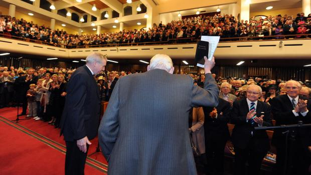 27/1/12 PACEMAKER BELFAST.  The Rev. Ian Paisley waves to the almost three thousand strong congregation at the Special Farewell Service in his honour after 65 years of Ministry at the Martyrs Memorial Church, on the Ravenhill Road, Belfast. Picture CHARLES MCQUILLAN/PACEMAKER