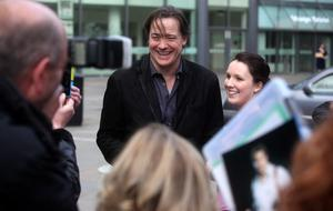 10.06.12. PICTURE BY DAVID FITZGERALDThe opening of the Belfast Film Festival at the Waterfront Hall, Belfast last night. Brendan Fraser getting photos with fans