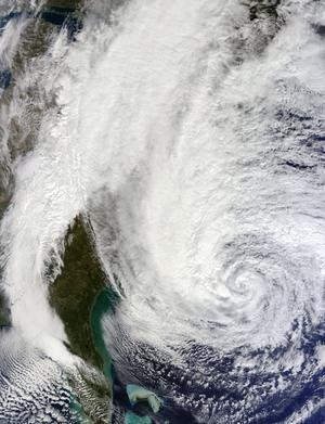 AT SEA - OCTOBER 28: In this handout GOES satellite image provided by NASA, Hurricane Sandy, pictured at 16:00 UTC, churns off the East Coast as it moves north on October 28, 2012 in the Atlantic Ocean. Sandy, which has already claimed over 50 lives in the Caribbean is predicted to bring heavy winds and floodwaters to the mid-Atlantic region. (Photo by NASA via Getty Images)