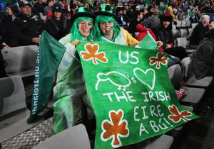 AUCKLAND, NEW ZEALAND - SEPTEMBER 17: Ireland fans soak up the atmosphere ahead of the IRB 2011 Rugby World Cup Pool C match between Australia and Ireland at Eden Park on September 17, 2011 in Auckland, New Zealand.  (Photo by Sandra Mu/Getty Images)