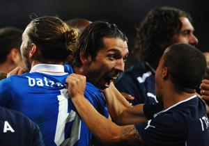 KIEV, UKRAINE - JUNE 24: Gianluigi Buffon of Italy celebrates with team-mates after the penalty shoot out during the UEFA EURO 2012 quarter final match between England and Italy at The Olympic Stadium on June 24, 2012 in Kiev, Ukraine.  (Photo by Laurence Griffiths/Getty Images)