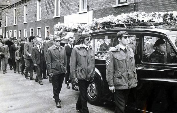 Members of the UDA provide an escort at the funeral of 30 year old John Lunnen Brown, a UDA volunteer, of Blackmountain Park, Springmartin.  01/07/72.