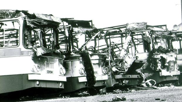 Some of the 24 Ulsterbuses which were burnt out after an IRA attack on the depot in Armagh.    28/4/1982.