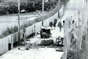 Scene of the IRA bomb and shooting attack  at Loughall Police Station which resulted in 8 IRA and 1 Civilian being killed.