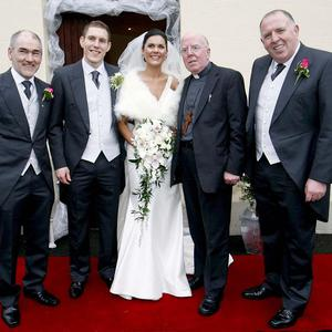 The wedding party (from left) Mickey Harte, John McAreavey, Michaela McAreavey, Bishop John McAreavey and Brendan McAreavey