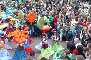 St Patricks Day parade in Belfast this afternoon.