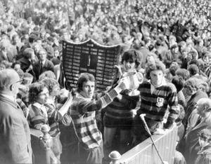 Members of the victorious Ballymena Academy team with the Schools' Cup after beating Belfast Royal Academy in the final at Ravenhill, 1972.