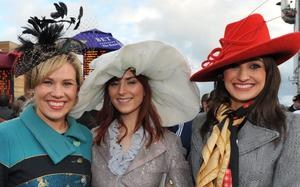 Enjoying a day out at Down Royal Racecourse - Jemma Murphy,   Martha Gilheaney and Jessica Adamson