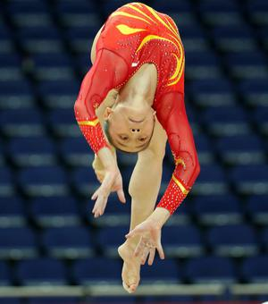 Yao Jinnan of China practises on the Beam during training sessions for artistic gymnastics ahead of the 2012 Olympic Games