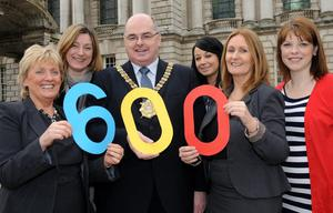 (l-r): Alice Quinn, CEO, North City Business Centre; Helen Matthews,Workwest; Belfast Lord Mayor, Councillor Pat Convery; Fiona Kerr, Ortus Business Development Agency; Patricia McNeill, Ormeau Business Park and Claire Savage, Townsend Enterprise Park, announce the 600 jobs created