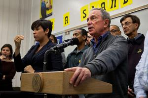 NEW YORK, NY - OCTOBER 28:  New York City Mayor Michael Bloomberg speaks to members of the media at Seward Park High School, which is doubling as an evacuation center, in preparation for Hurricane Sandy on October 28, 2012 in New York City Sandy, which has already claimed over 50 lives in the Caribbean, is predicted to bring heavy winds and floodwaters as the mid-atlantic region prepares for the damage.  (Photo by Andrew Burton/Getty Images)
