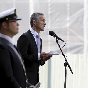 Norwegian PM Jens Stoltenberg speaks during a memorial ceremony for the attacks by Anders Breivik (AP)
