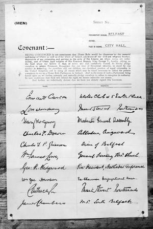The Ulster Covenant, first page signatures.