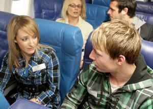 Emma Kirkpatrick and Calum Rowden speed date on the plane